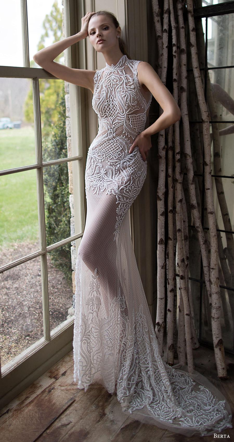 berta bridal fall 2016 sleeveless high neck trumpet wedding dress (16 116) mv