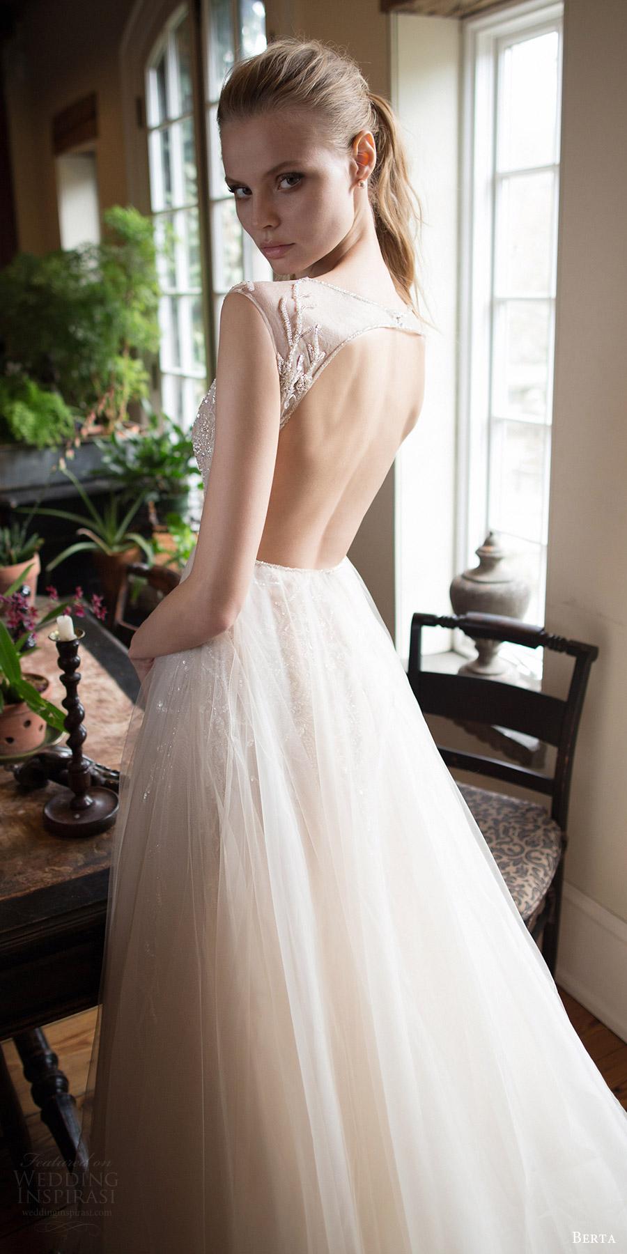 berta bridal fall 2016 sleeveless illusion jewel neck aline wedding dress (16 105) bv keyhole