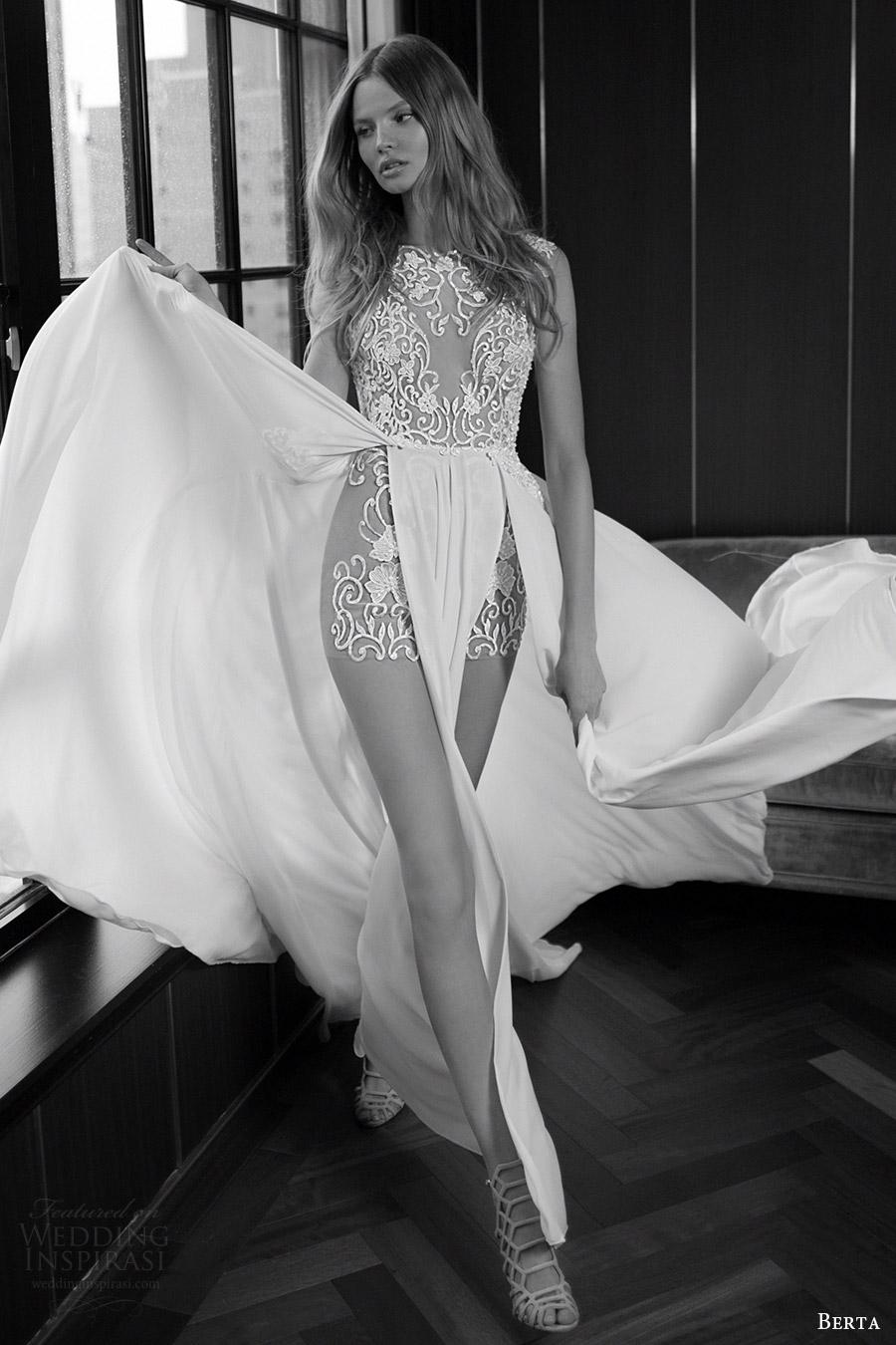 berta bridal fall 2016 sleeveless illusion jewel neck wedding dress aline double slit overskirt (16 106) mv