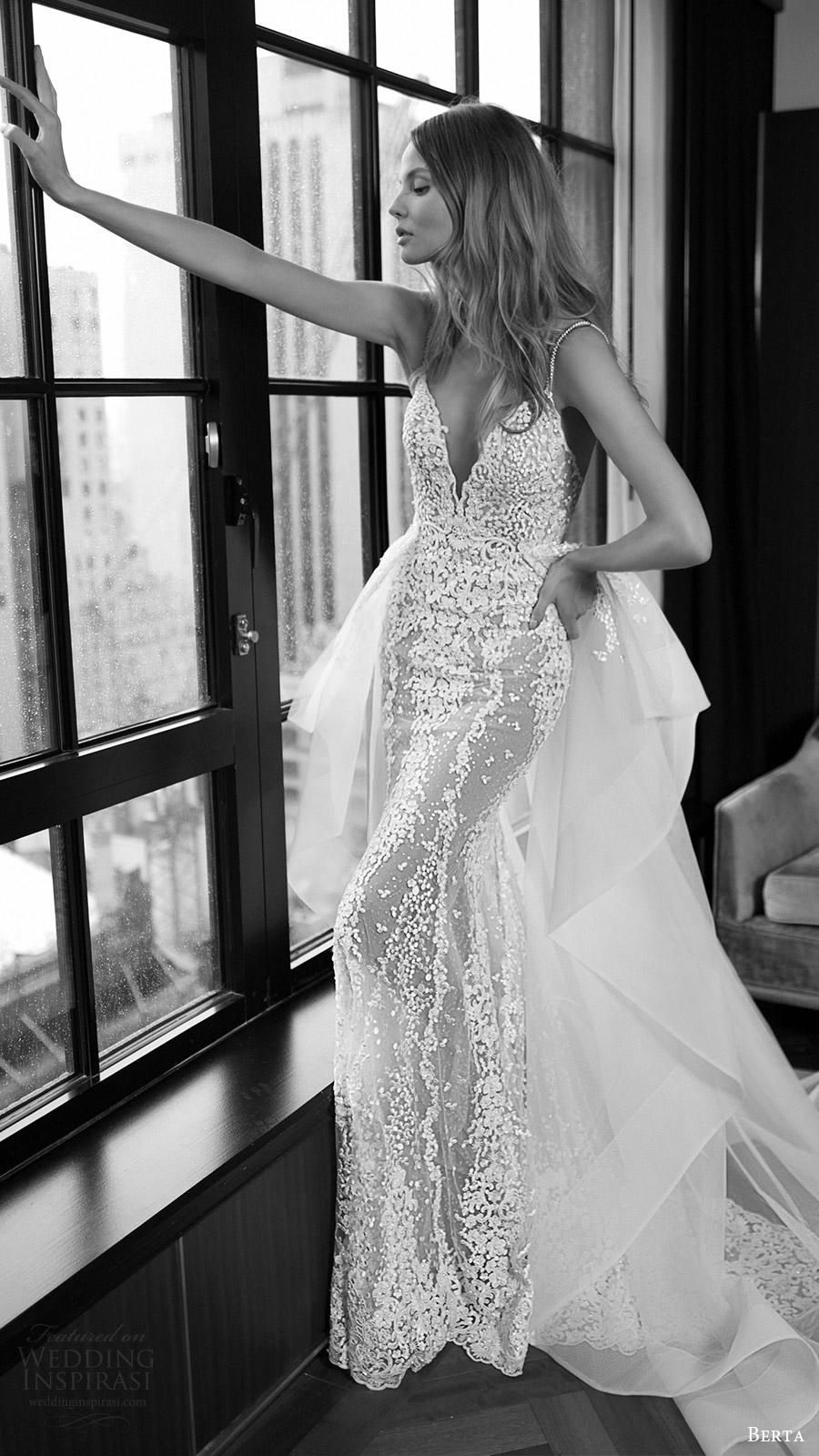 berta bridal fall 2016 sleeveless vneck sheath wedding dress (16 108) mv overskirt train