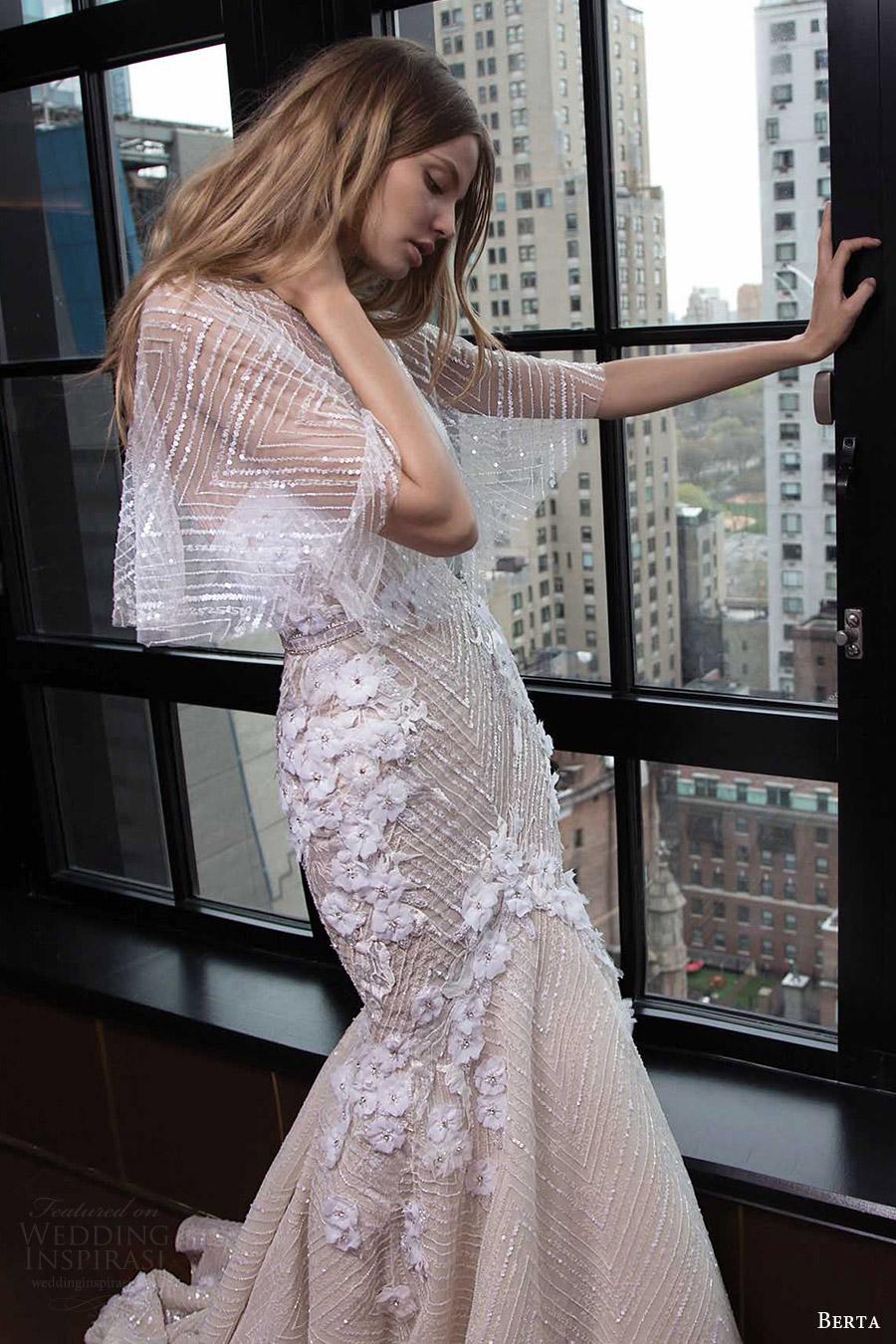 berta bridal fall 2016 strapless sweetheart trumpet wedding dress (16 104) fv illusion cape