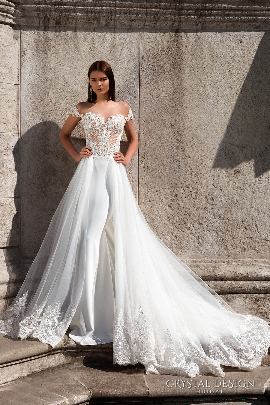 crystal design bridal 2016 off the shoulder sweetheart neckline lace bodice glamorous sheath wedding dress a  line overskirt long train (sonata) mv