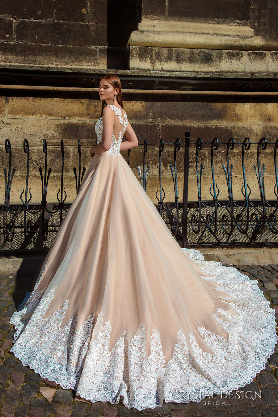 crystal design bridal 2016 sleeveless embellished semi sweetheart neckline lace bodice champagne color princess a  line ball gown wedding dress illusion back royal train (ariel) sdv