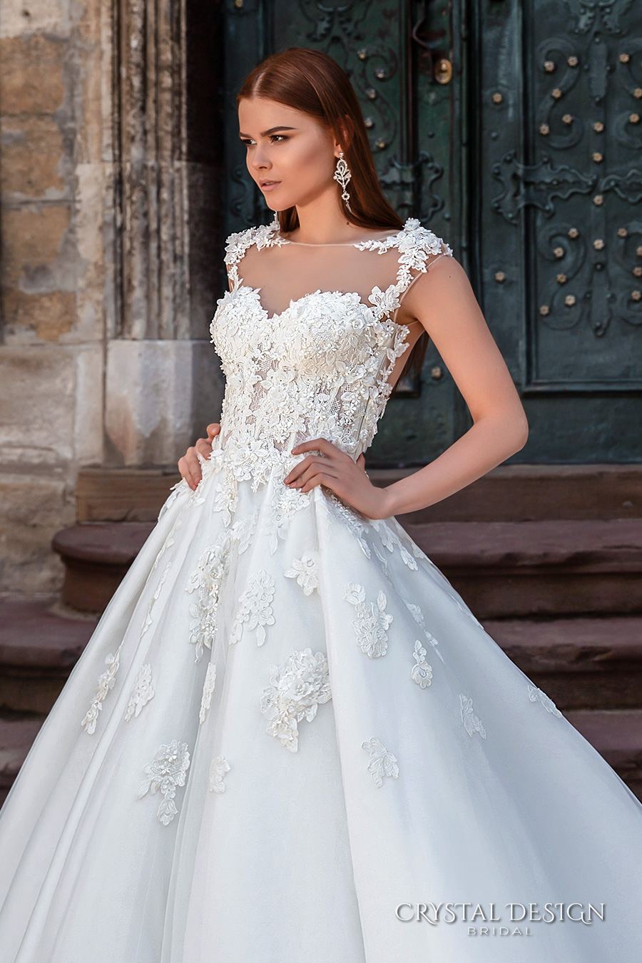 crystal design bridal 2016 sleeveless illusion boat sweetheart neckline heavily embellished bodice princess a  line ball gown wedding dress sheer back royal train (pilar) zv