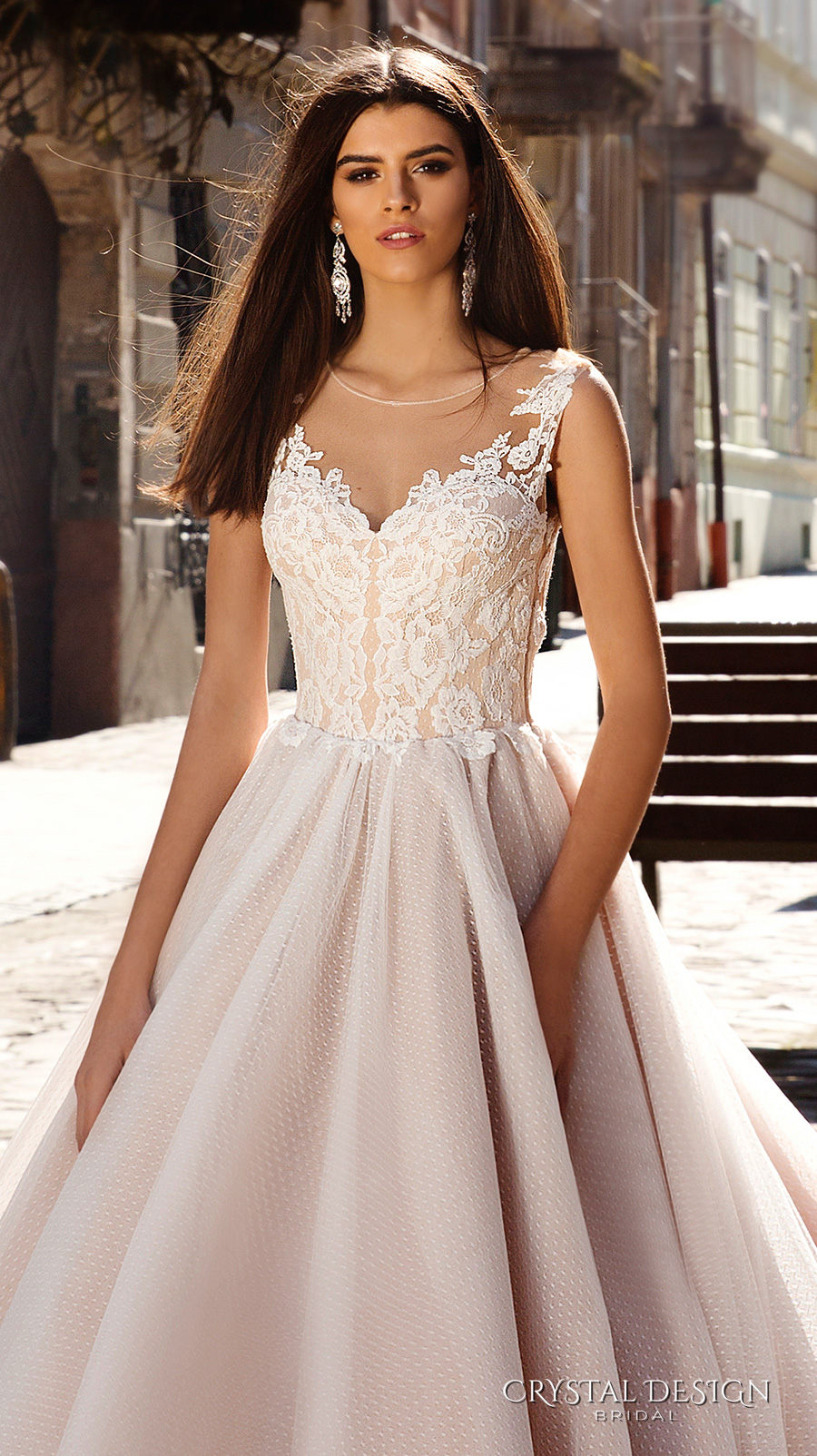 crystal design bridal 2016 sleeveless illusion round neckline v neck lace embellished bodice gorgeous princess ball gown wedding dress chapel train (avrora) zv