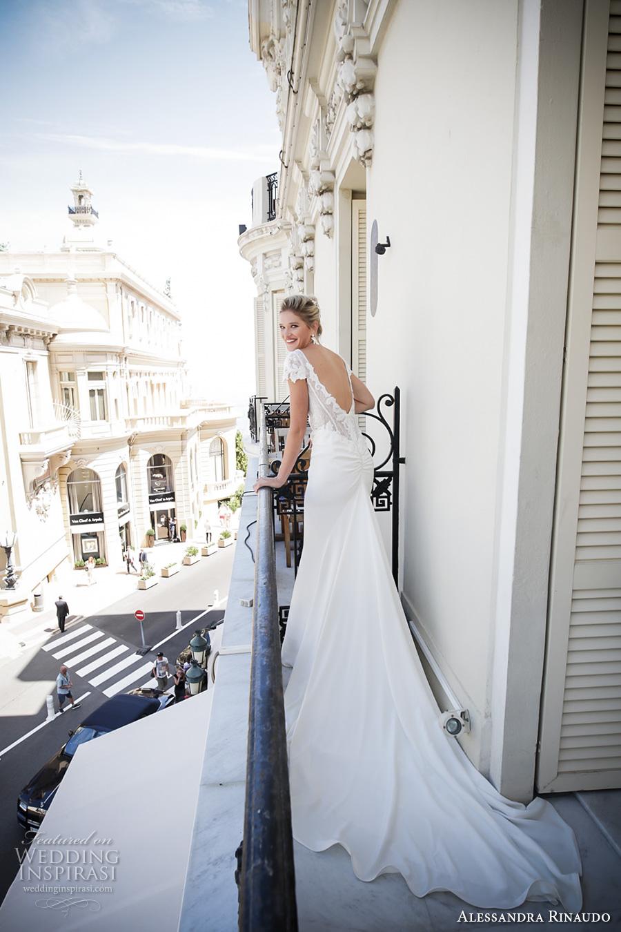 alessandra rinaudo 2017 bridal cap sleeves bateau neckline heavily embellished bodice elegant sheath wedding dress low back long train (7) bv