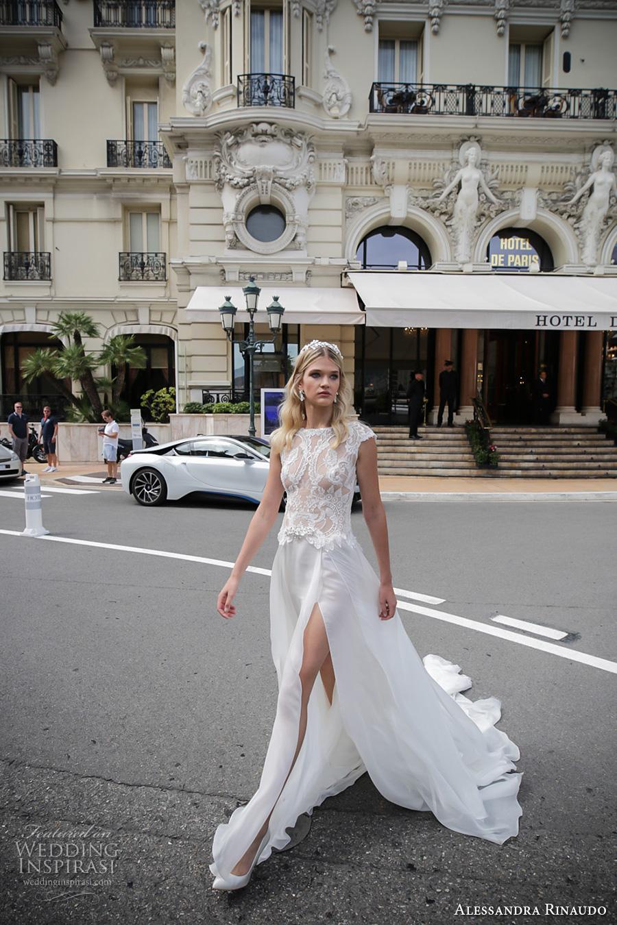 alessandra rinaudo 2017 bridal cap sleeves bateau neckline heavily embellished bodice sexy slit a  line wedding dress lace back chapel train (6) mv