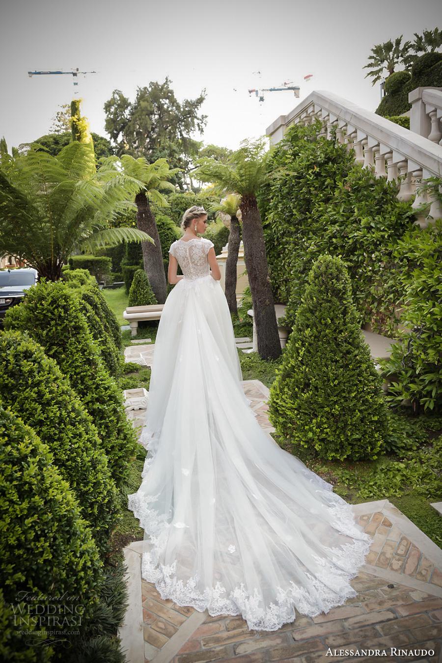 alessandra rinaudo 2017 bridal cap sleeves boat neckline lace embellished bodice romantic sheath wedding dress a  line train lace back long train (34) bv
