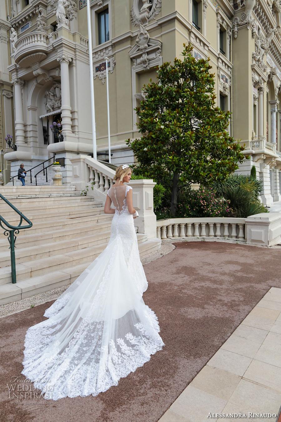 alessandra rinaudo 2017 bridal cap sleeves illusion boat deep plunging neckline full embellishment elegant sheath wedding dress illusion back royal long train (3) bv