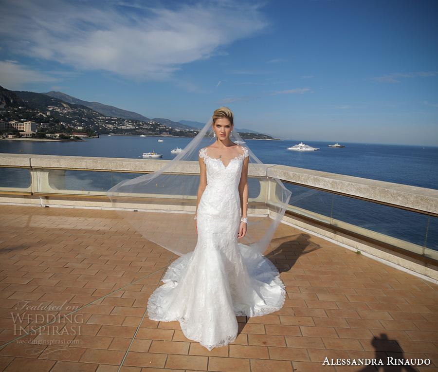alessandra rinaudo 2017 bridal cap sleeves sweetheart neckline full embellishment elegant mermaid wedding dress illusion low back long train (9) mv