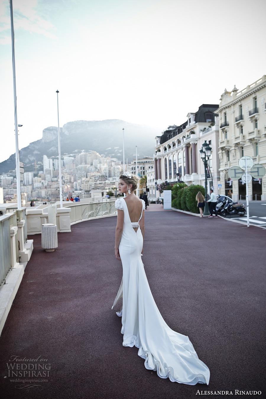 alessandra rinaudo 2017 bridal cap sleeves v neck simple clean elegant sheath wedding dress open low v back chapel train (11) bv