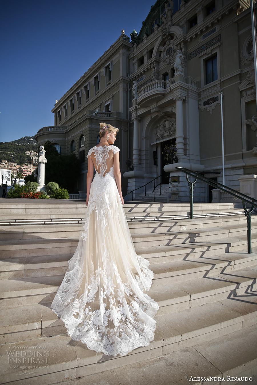 alessandra rinaudo 2017 bridal illusion half sleeves v neck heavily embellished bodice tulle skirt romantic a  line wedding dress lace back chapel train (13) bv