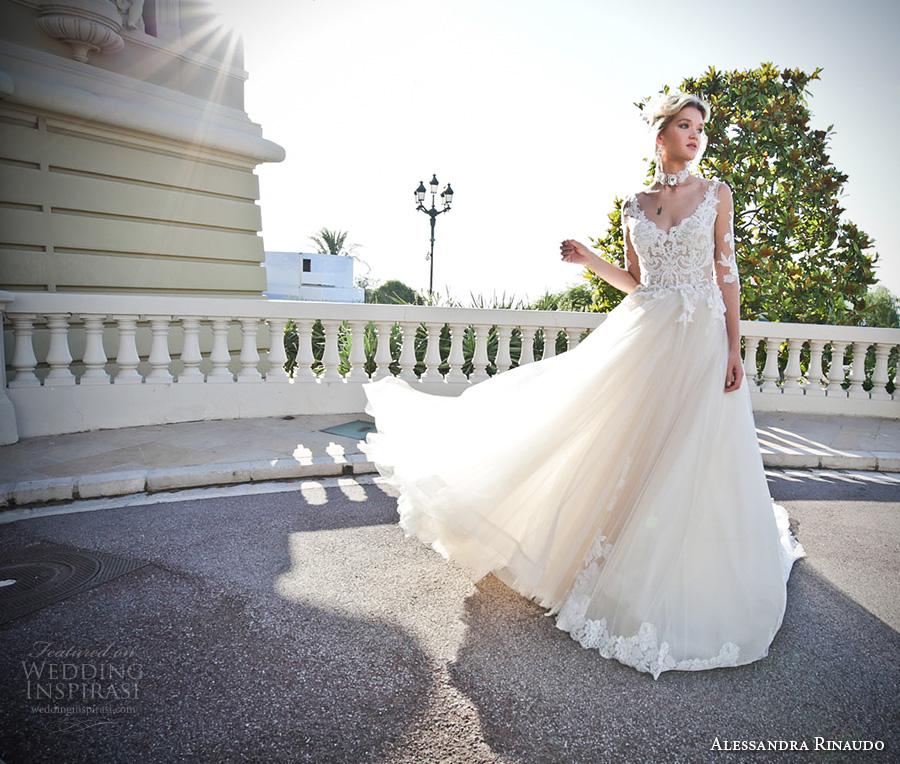 alessandra rinaudo 2017 bridal illusion half sleeves v neck heavily embellished bodice tulle skirt romantic a  line wedding dress lace back chapel train (13) mv