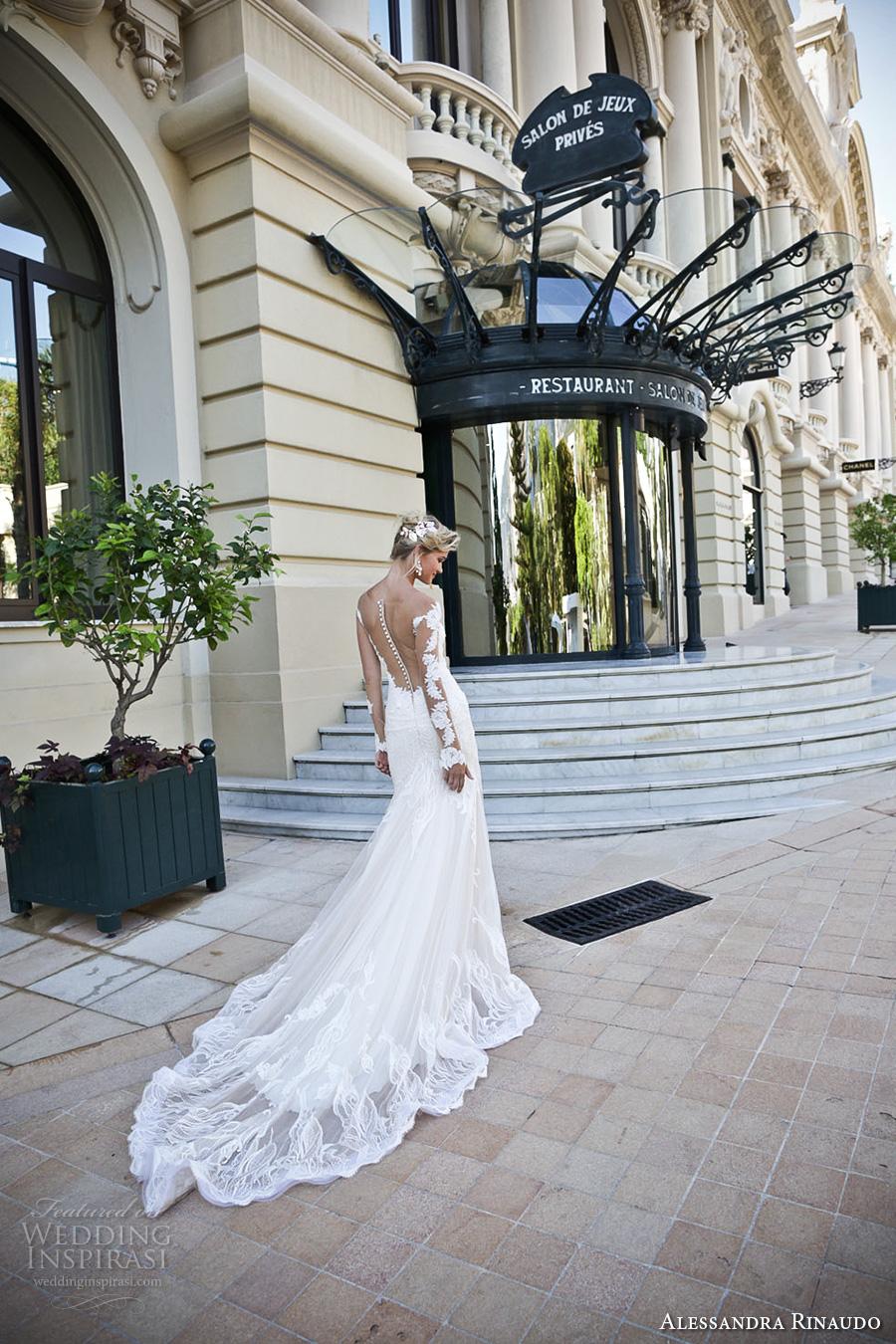 alessandra rinaudo 2017 bridal lace long sleeves illusion boat sweetheart neckline elegant fit and flare wedding dress illusion low back long train (15) bv
