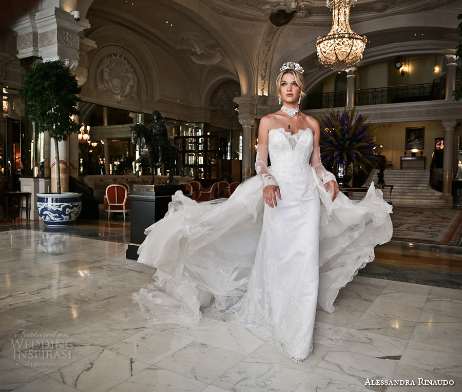alessandra rinaudo 2017 bridal long fingerless lace gloves strapless deep sweetheart v neck heavily embellished bodice sheath wedding dress layered long train (28) mv