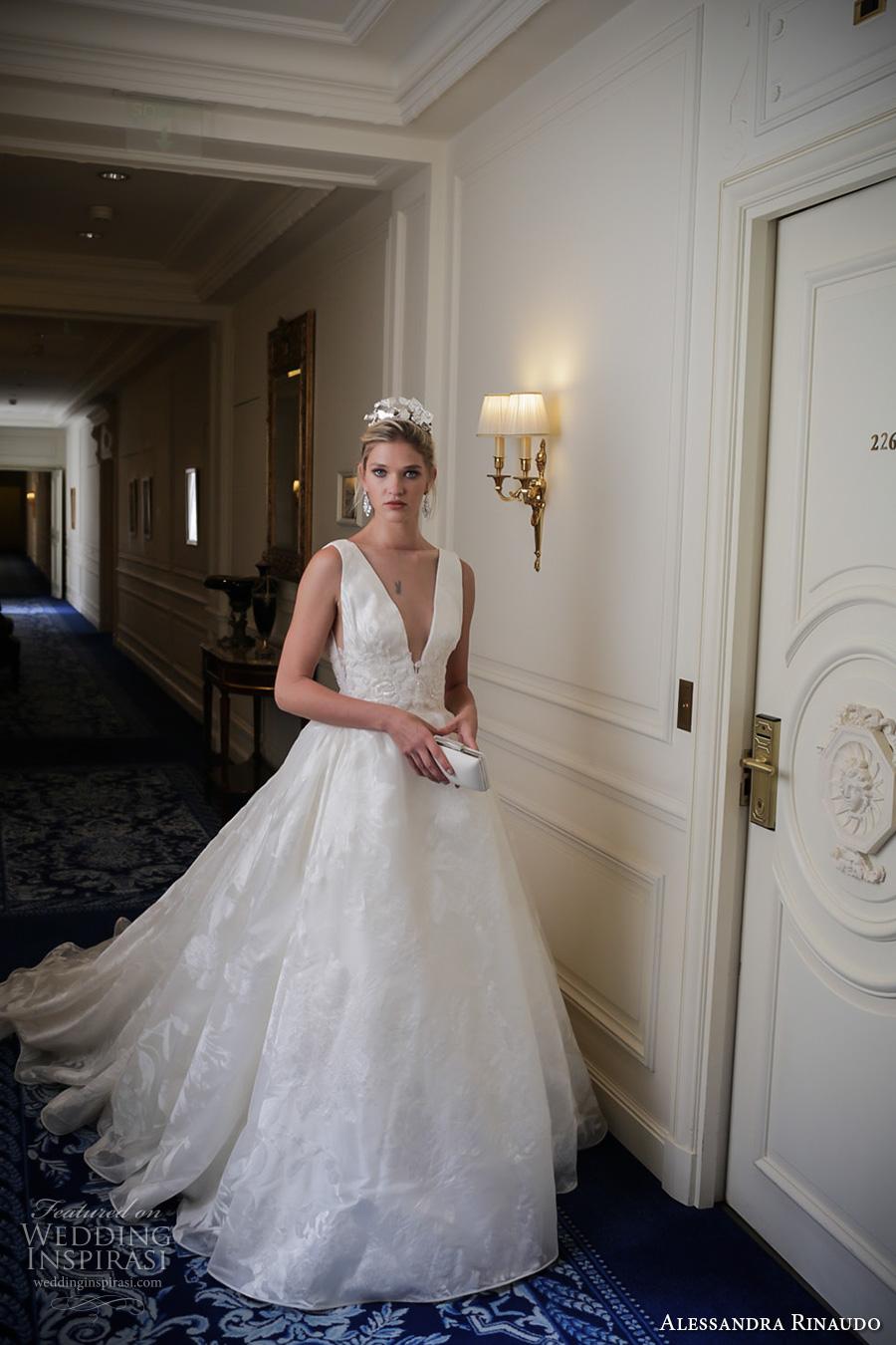 alessandra rinaudo 2017 bridal sleeveless deep v neck full embellishment pretty princess a  line ball gown wedding dress low v back chapel train (8) mv