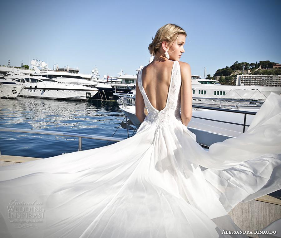 alessandra rinaudo 2017 bridal sleeveless v neck full embellishment elegant sheath wedding dress low open back chapel train (21) bv