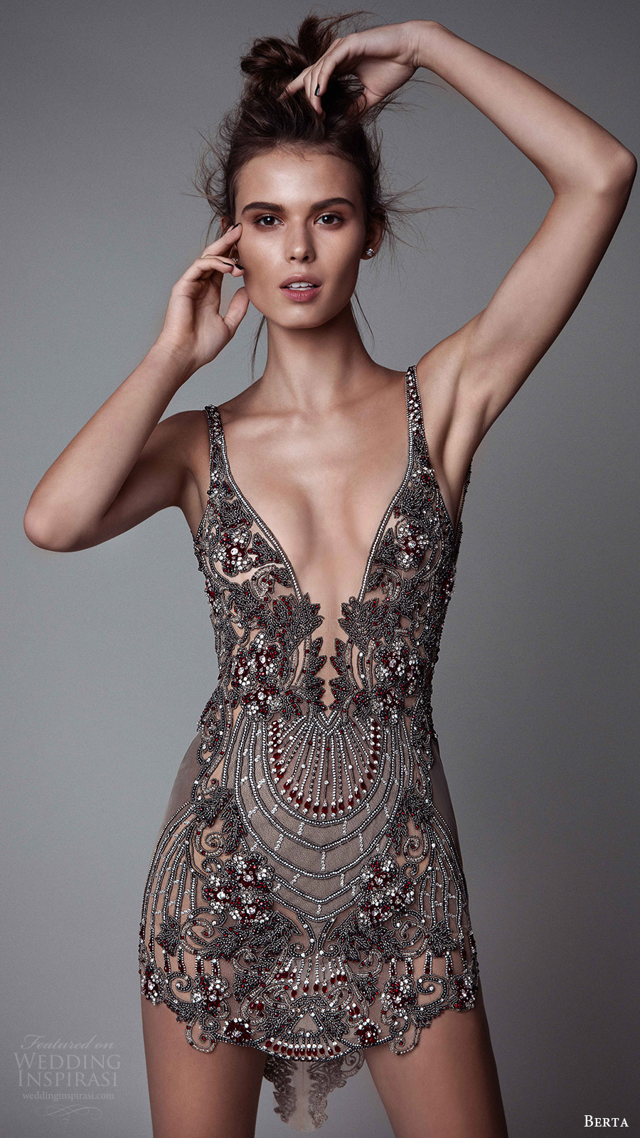 berta rtw fall 2017 (17 15) sleeveless v neck mini dress embellished mv