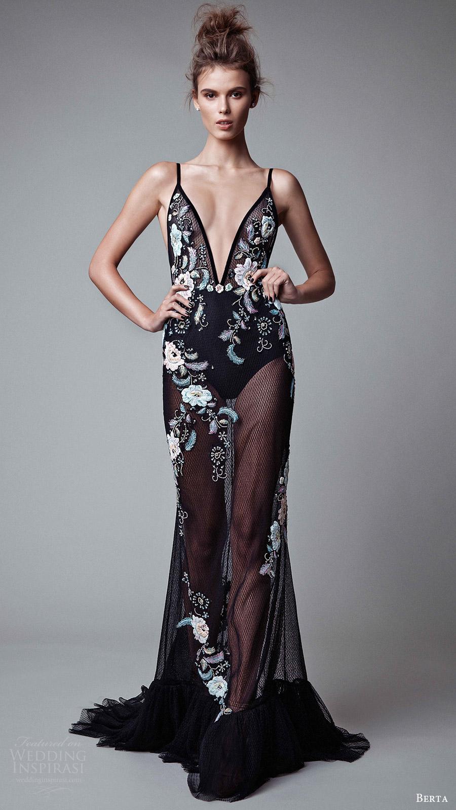berta rtw fall 2017 (17 22) sleeveless deep v neck embroidered black trumpet evening dress mv sheer skirt