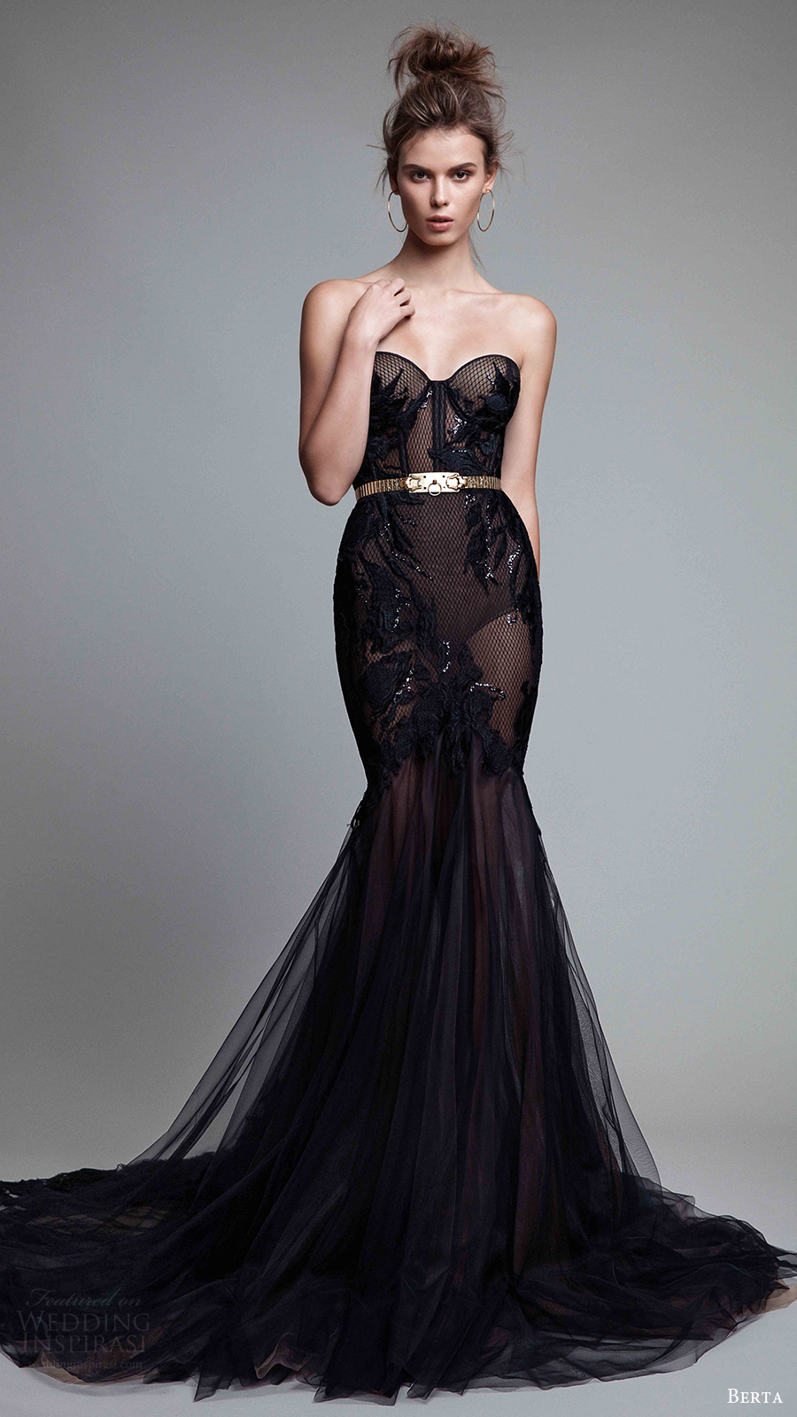 berta rtw fall 2017 (17 23) strapless sweetheart mermaid embellished black evening dress mv