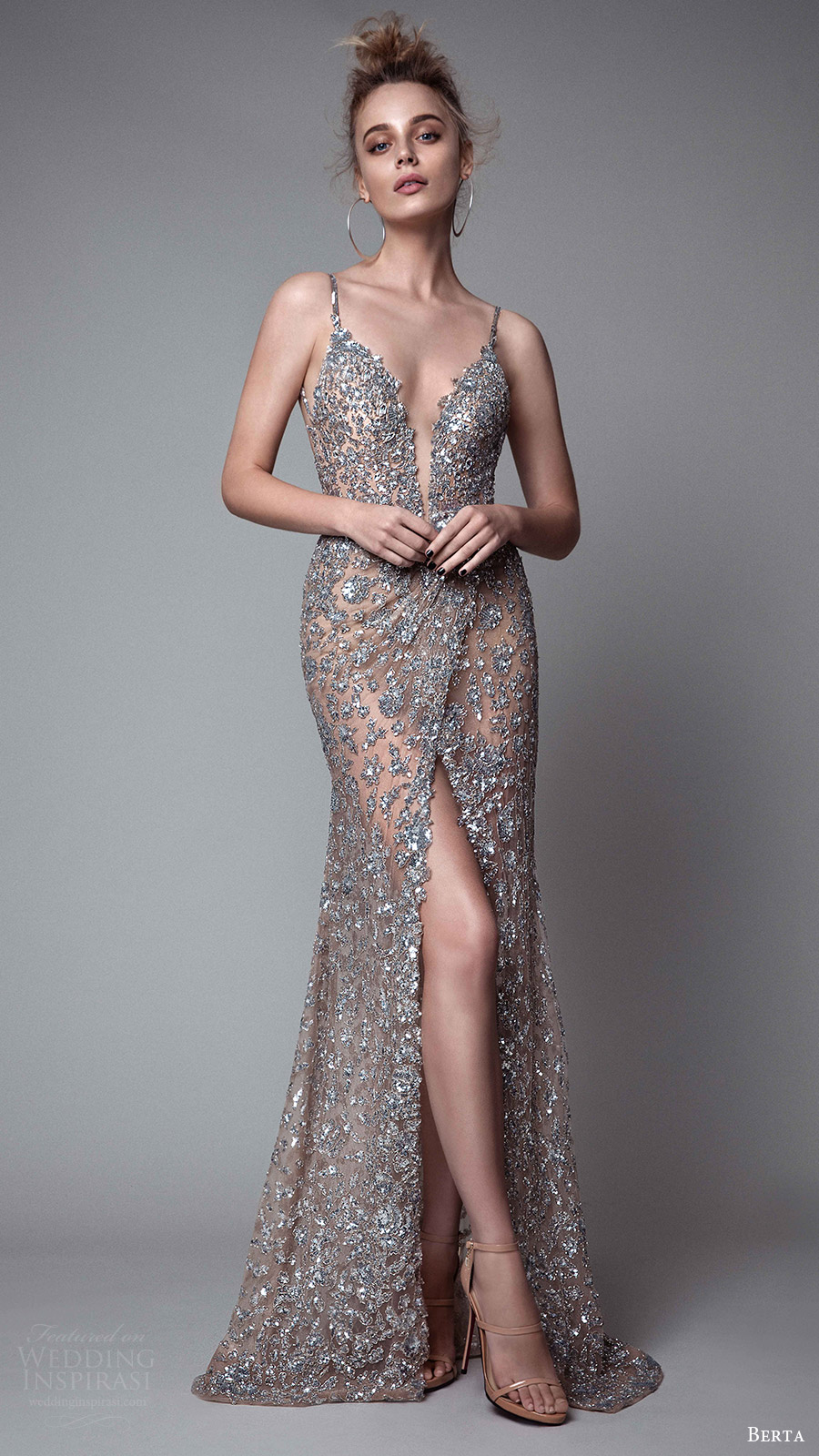 berta rtw fall 2017 (17 29) sleeveless deep v neck sheath metallic evening dress slit skirt spaghetti straps mv