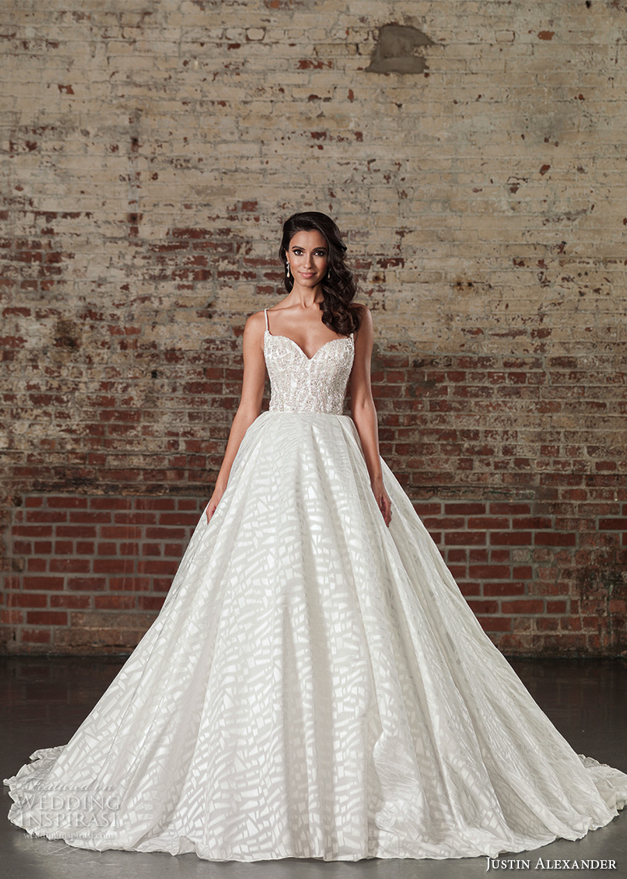15ce359ec9d33 justin alexander spring 2017 bridal spagetti strap sweetheart neckline  heavily embellished bodice princess ball gown a. Style 9864 ...