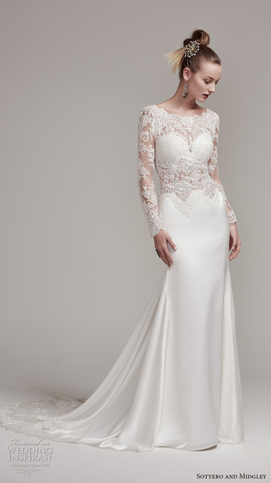 sottero midgley fall 2016 bridal long sleeves bateau neckline heavily  embellished bodice satin skirt elegant sexy d316883a0