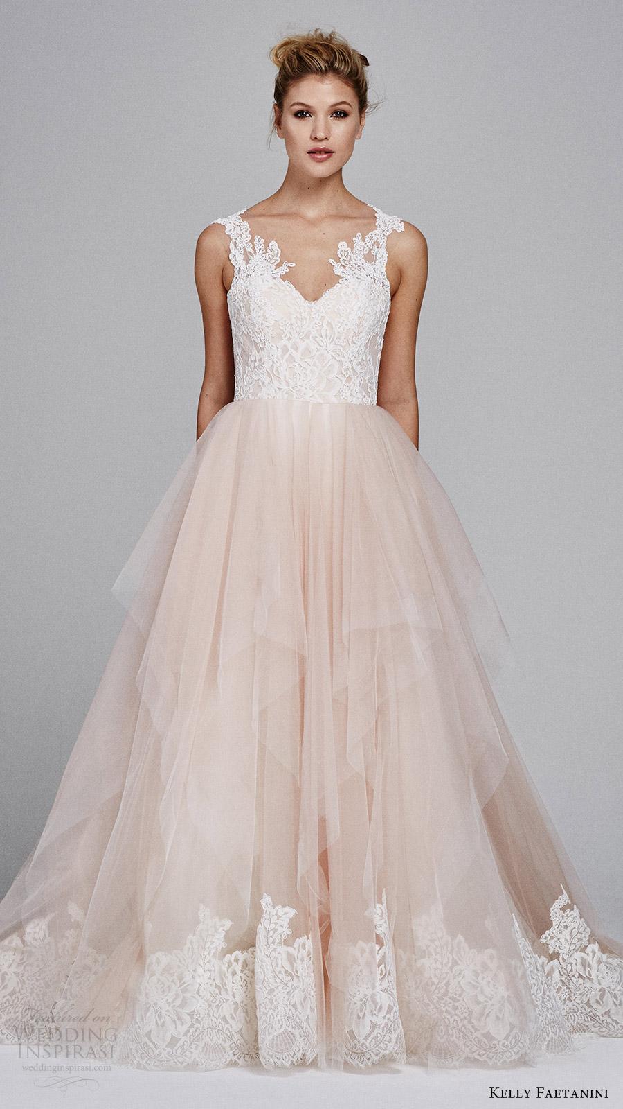 "f68327c85 kelly faetanini fall 2017 sleeveless sweetheart lace bodice aline wedding  dress (azalea) mv blush. """