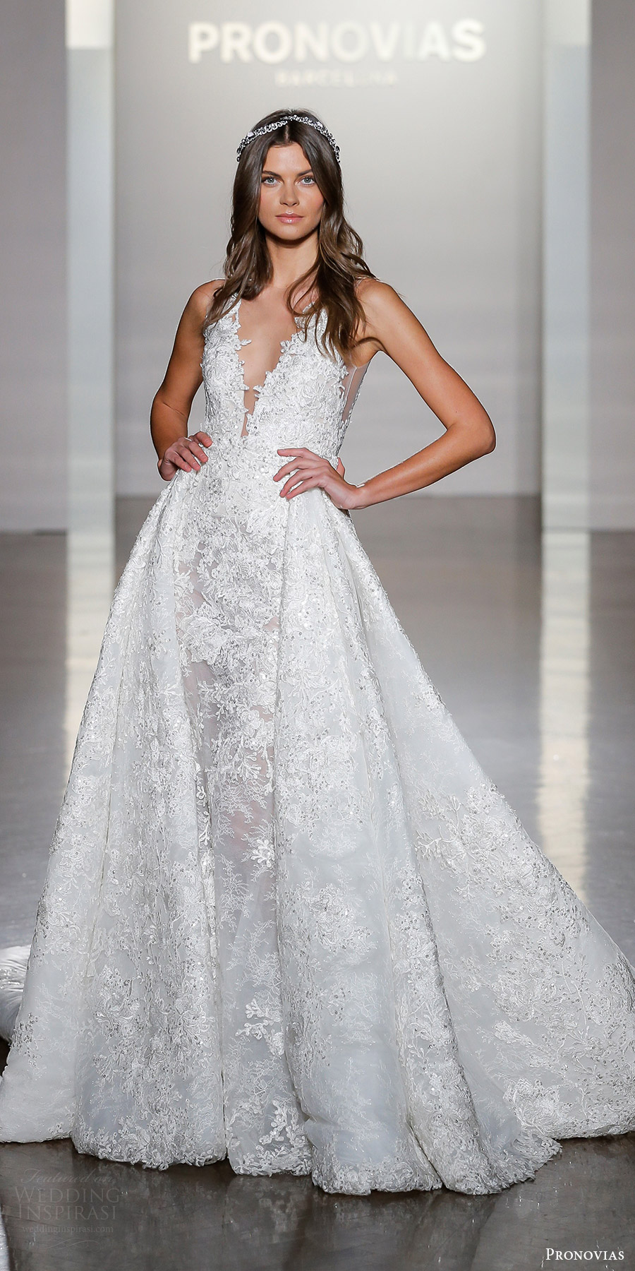 pronovias 2019 bridal sleeveless deep vneck ball gown lace overskirt wedding dress (nilay) mv