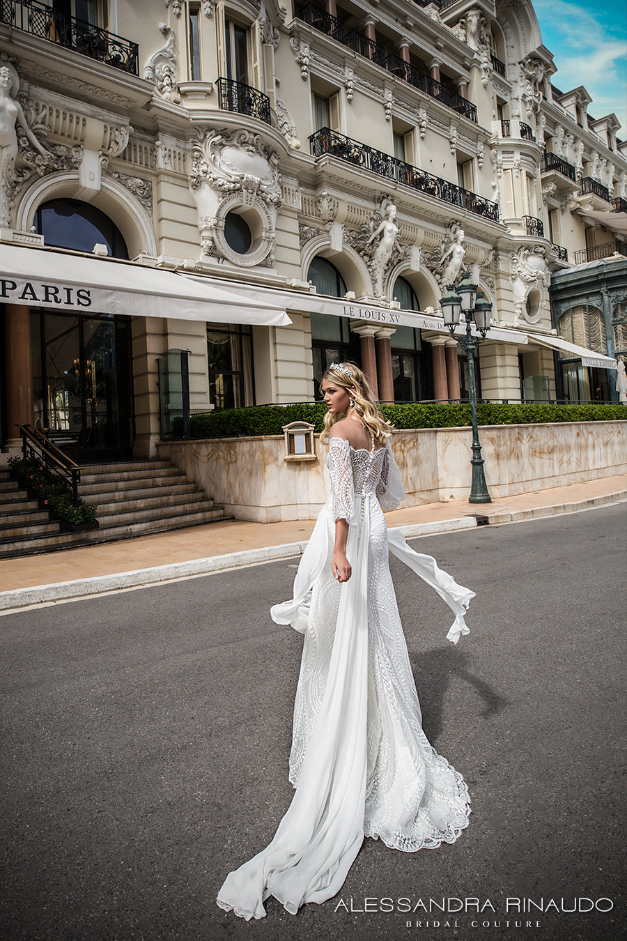 alessandra rinaudo 2017 bridal off the shoulder three quarter bell sleeves lace heavily embellished bodice sexy sheath wedding dress lace back sweep train (bria) bv