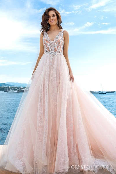 Crystal Design 2017 Wedding Dresses     Haute Couture Bridal     crystal design 2017 bridal sleeveless v neck heavily embellished bodice  tulle skirt princess romantic blush color