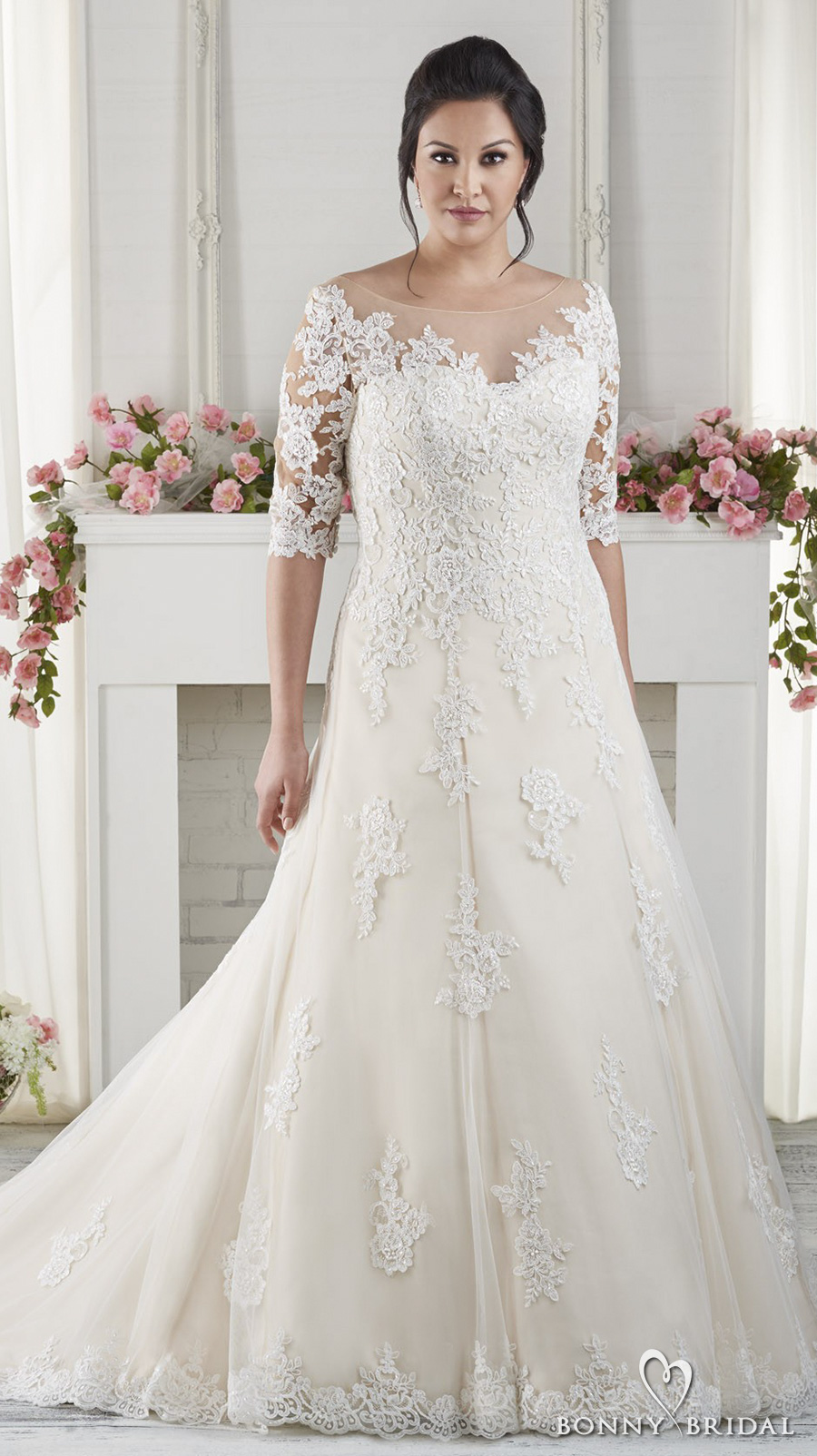 Neckline And Embellished Dress Fit Wedding Sweetheart Line Lace And Soft Tulle Flare