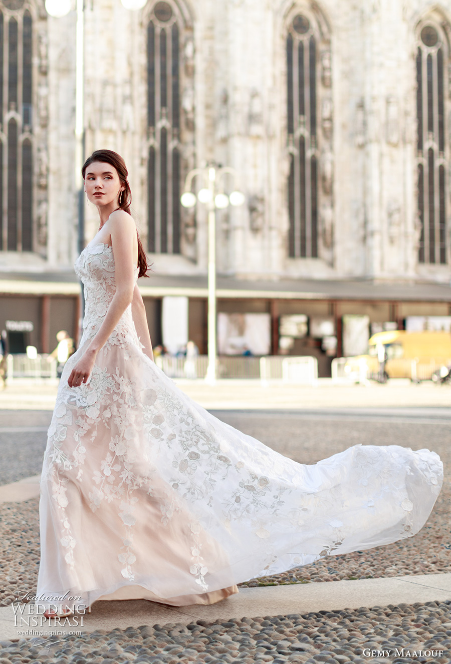 gemy maalouf 2017 bridal strapless straight across full embroidered elegant sexy modified a line wedding dress sweep train (4805) mv