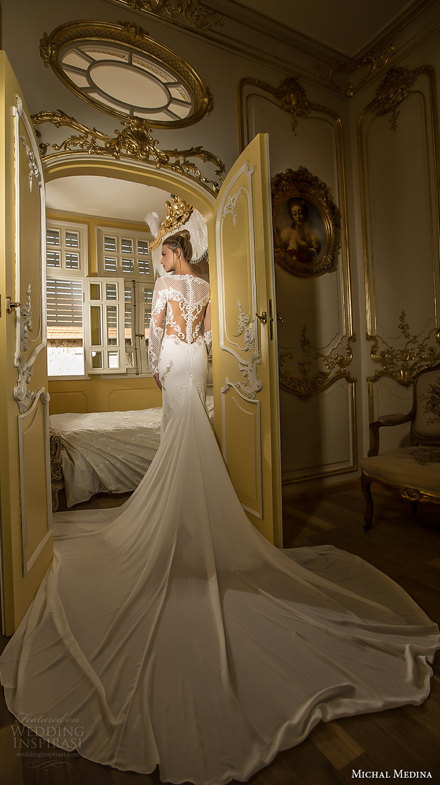 michal medina 2017 bridal long sleeves bateau neckline heavily embroidered bodice elegant fit and flare wedding dress lace back royal train (elizabeth) mv bv