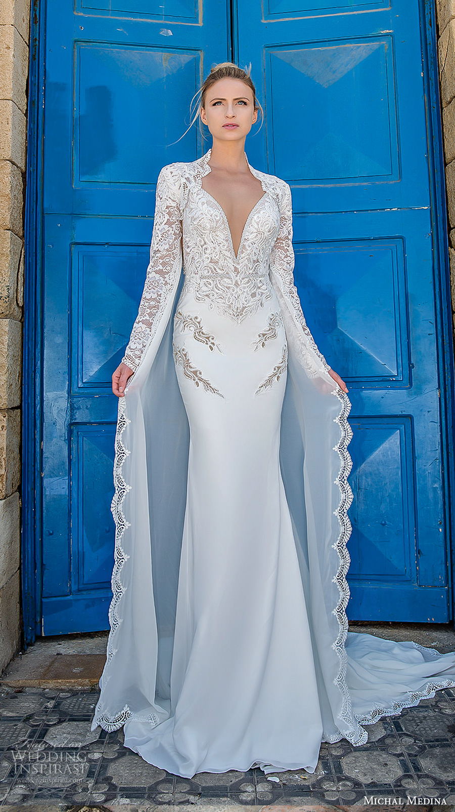 michal medina 2017 bridal long sleeves queens anne neck deep pluning sweetheart neckline heavily embellished bodice sheath wedding dress chapel train (dianne) mv