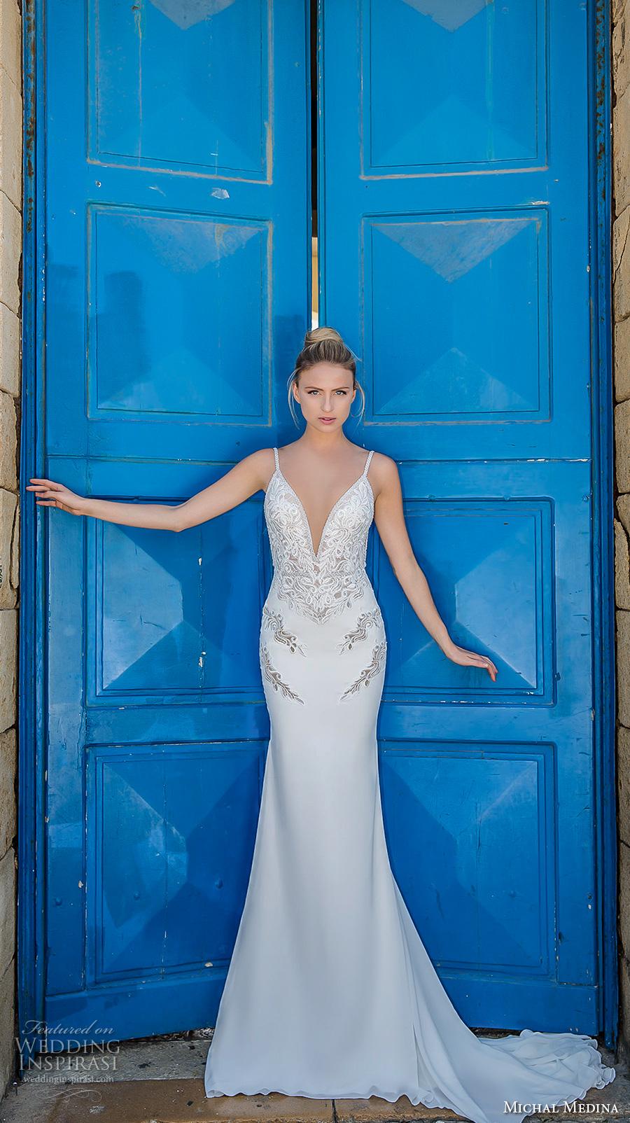 michal medina 2017 bridal spagetti strap neck deep pluning sweetheart neckline heavily embellished bodice sheath wedding dress chapel train (dianne) mv
