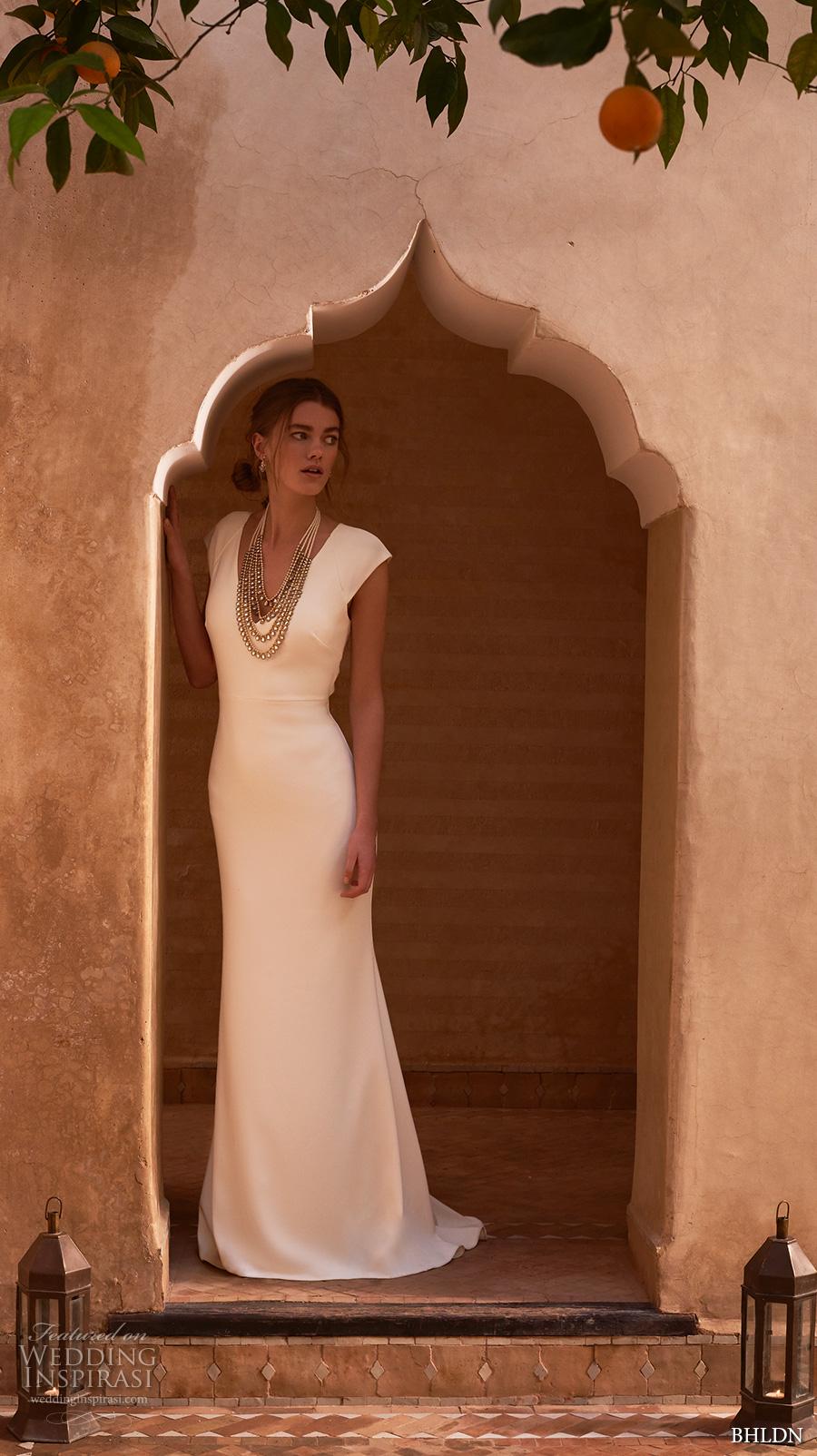 bhldn spring 2017 bridal cap sleeves v neck simple clean elegant sheath wedding dress keyhole back sweep train (sawyer) mv