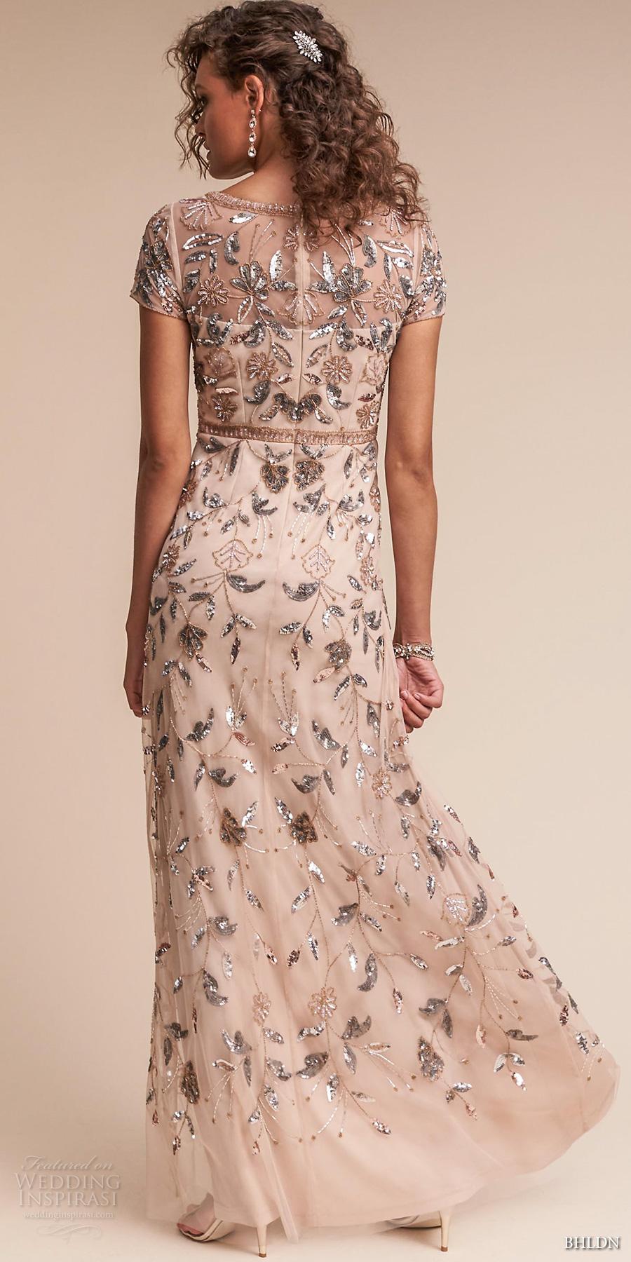 bhldn spring 2017 bridal short sleeves jewel neck full embellishment glamorous colored sheath wedding dress covered back sweep train (cecelia) bv