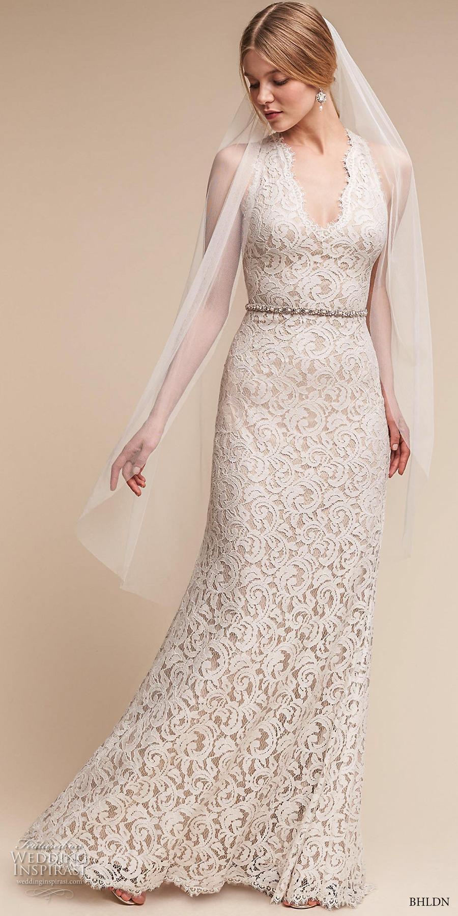 bhldn spring 2017 bridal sleeveless halter v neck full embellishment elegant sheath wedding dress cross strap back sweep train (cheyenne) mv