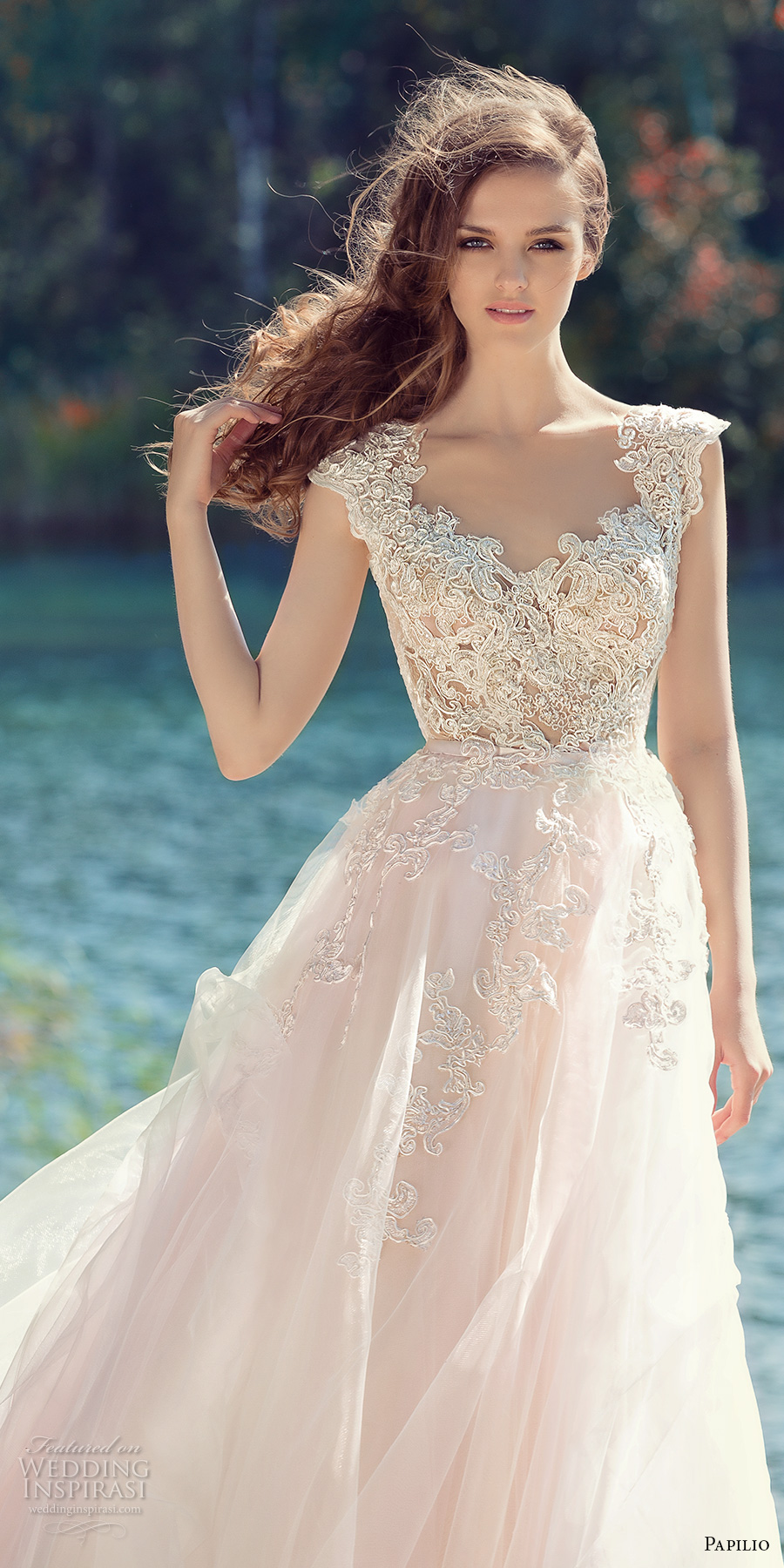papilio 2017 bridal cap sleeves v neck heavily embellished bodice tulle skirt romantic blush color a line wedding dress open low v back royal train (hornbill) zv
