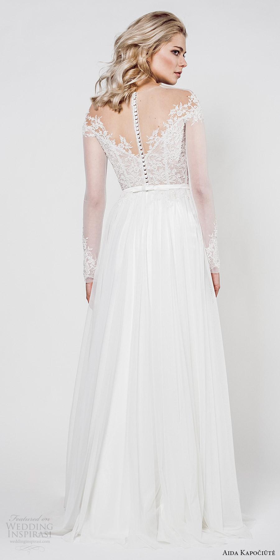 aida kapociute 2017 bridal illusion long sleeves sheer off shoulder lace bodice a line wedding dress (11) bv romantic