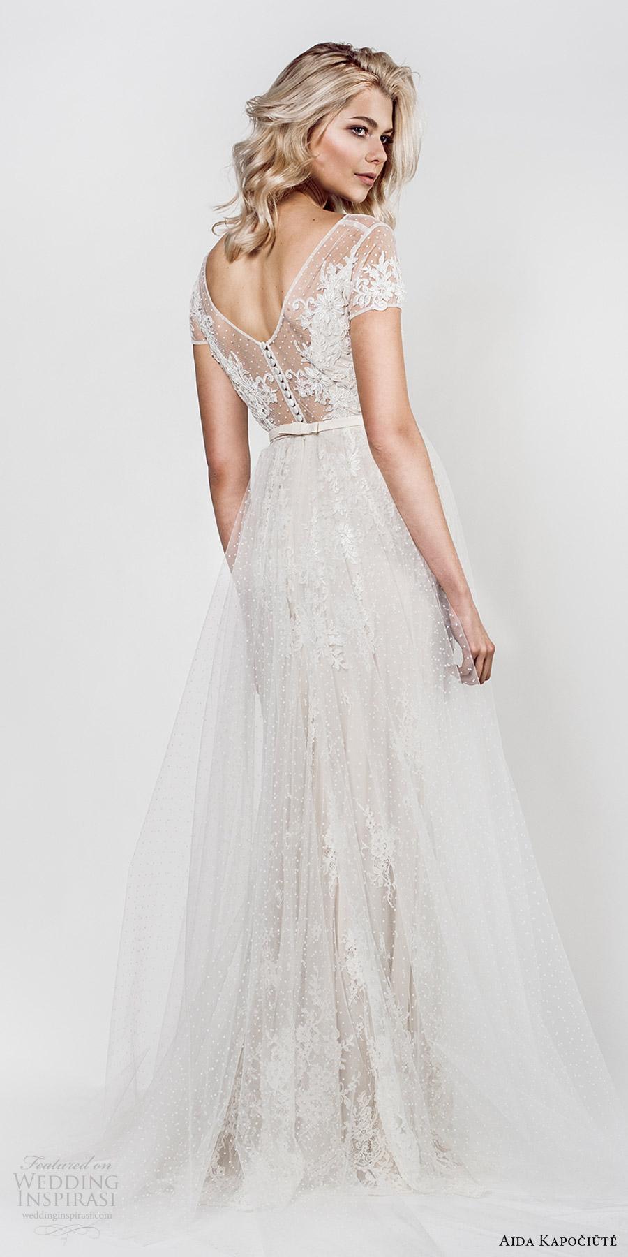 aida kapociute 2017 bridal illusion short sleeves bateau neck sheer lace bodice sheath a line overskirt (14) bv
