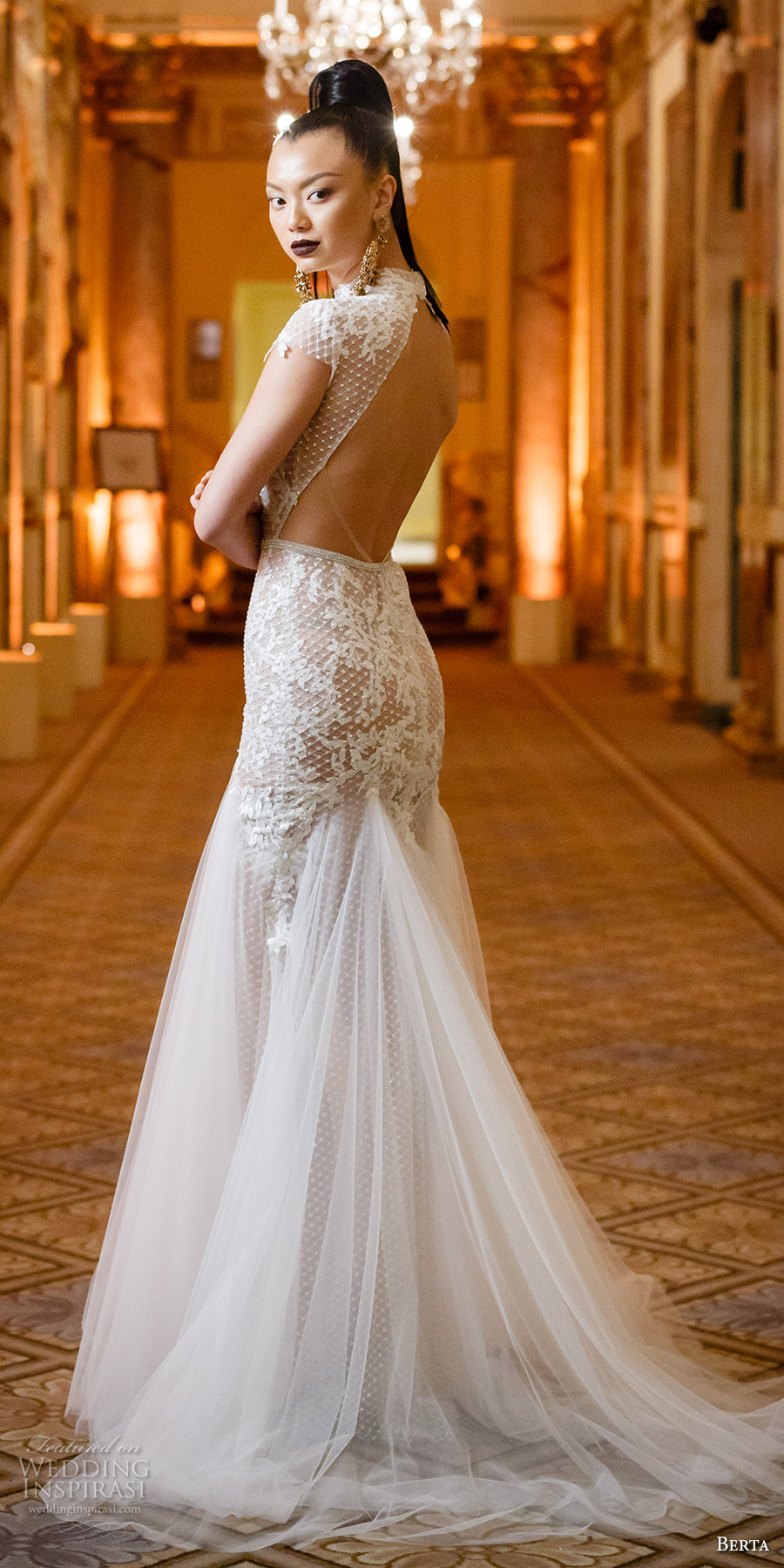 berta spring 2018 bridal cap sleeves high neck heavily embellished bodice tulle skirt flowy drop waist elegant a line wedding dress keyhole back sweep train (01) bv