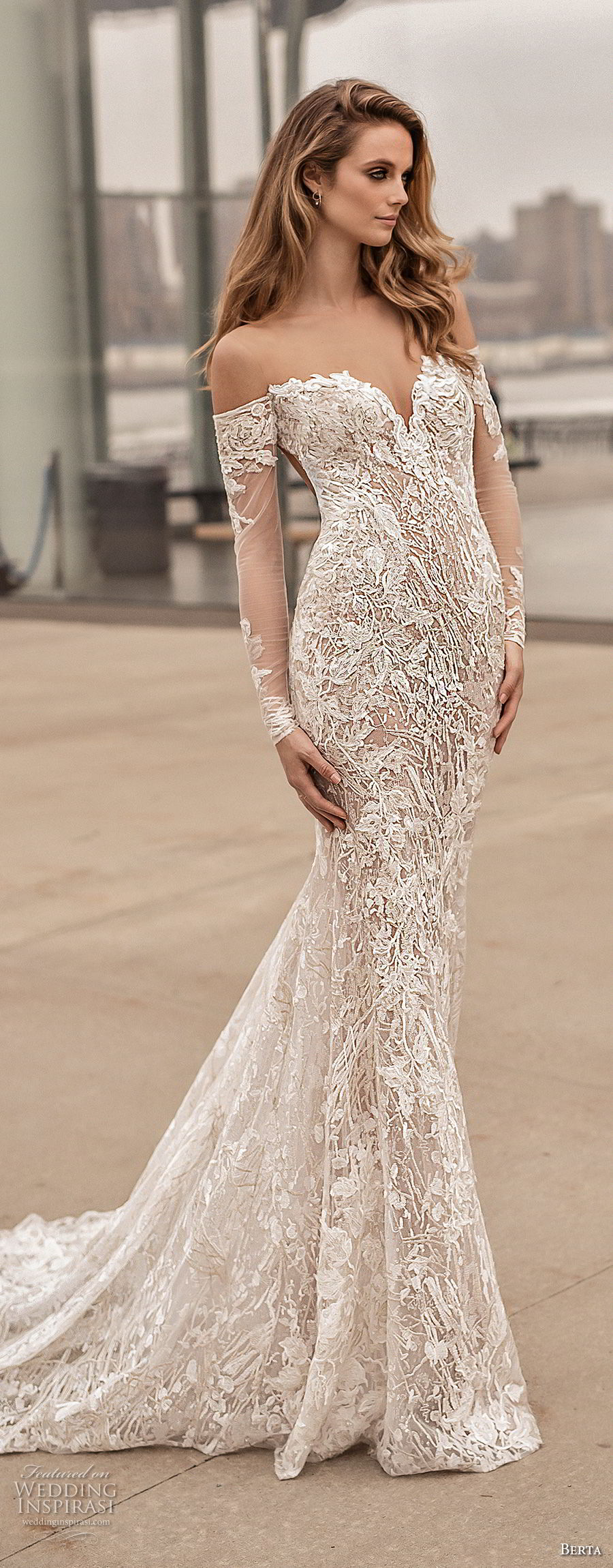 berta spring 2018 bridal long sleeves off the shoulder sweetheart neckline full embellishment sexy elegant fit and flare wedding dress open low back medium train (3) mv