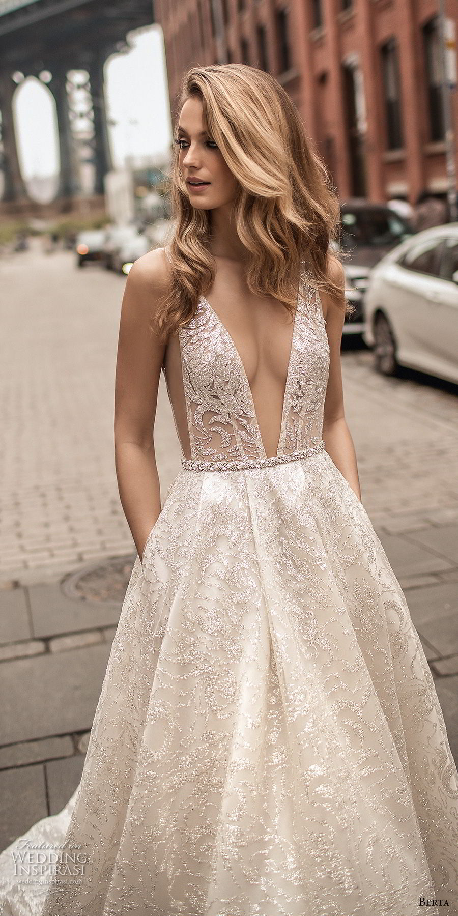 berta spring 2018 bridal sleeveless deep plunging v neck full embellishment sexy romantic a line wedding dress pockets open scoop back chapel train (4) zv