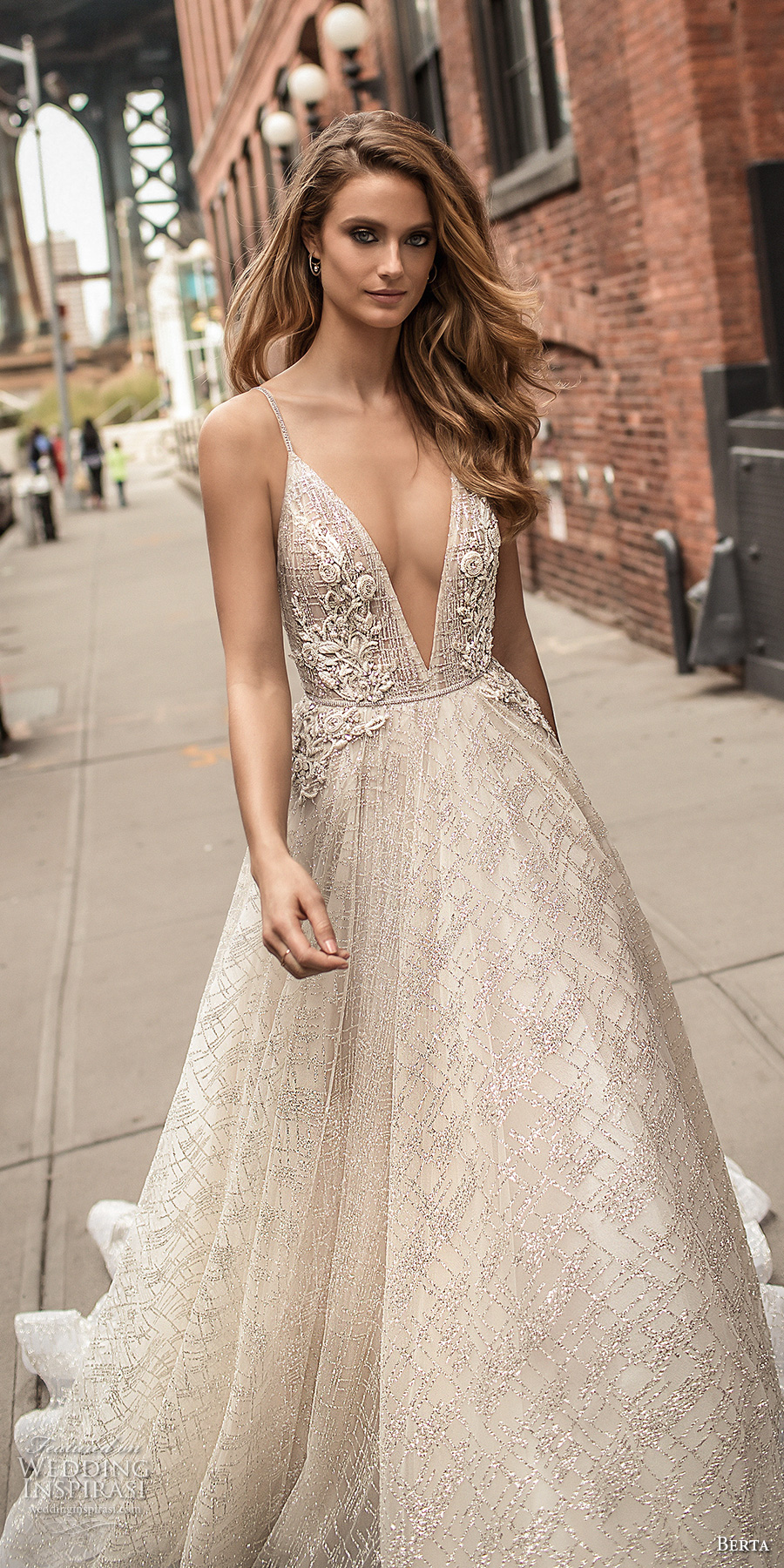 berta spring 2018 bridal spaghetti strap deep v neck full embellishment sexy romantic a line wedding dress open back chapel train (2) zv