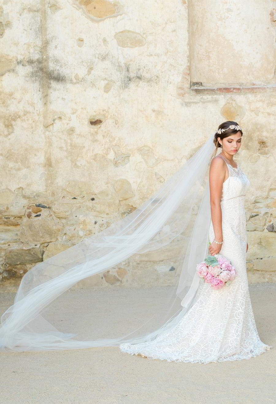bel aire bridal accessories 6778 soft fabric flowers rhinestone pearl headpiece V7333C cathedral veil wedding dress train
