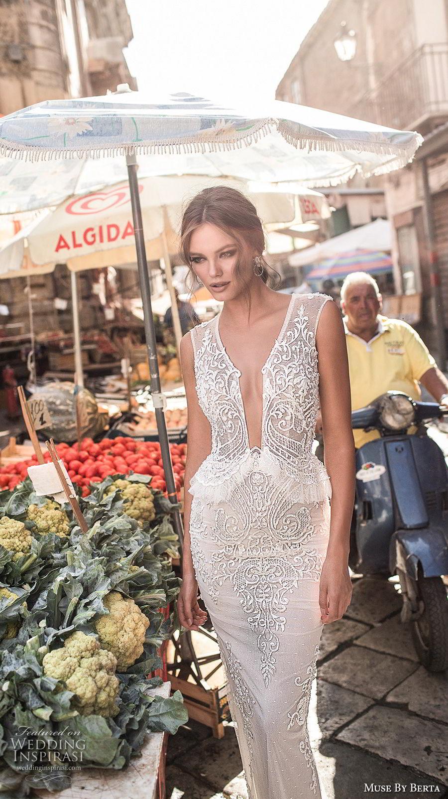 muse berta 2018 bridal sleeveless deep plunging v neck heavily embellished bodice elegant sexy peplum sheath wedding dress sheer keyhole back (6) mv