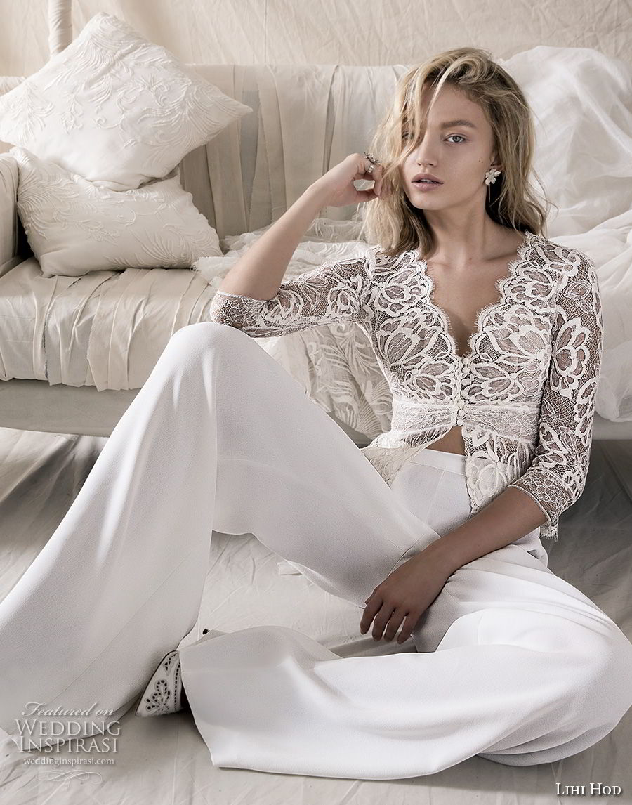 lihi hod 2018 bridal three quarter sleeves v neck heavily embellised bodice 2 piece lace jacket chic pants wedding dress open back (6) mv