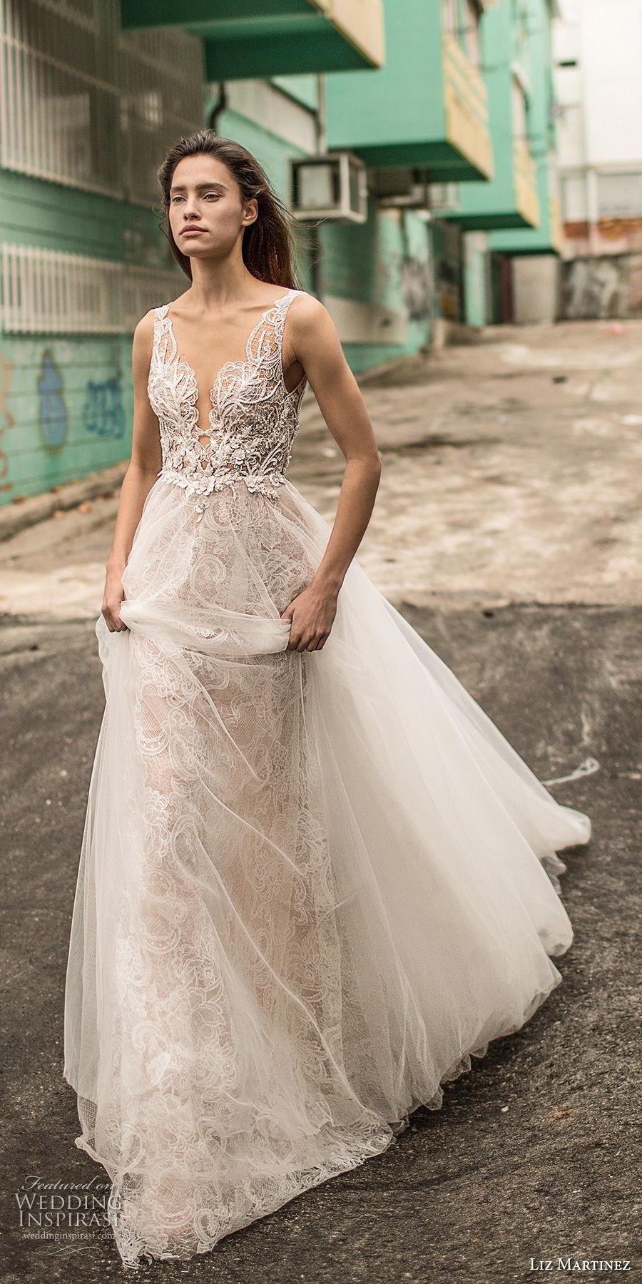 liz martinez 2018 lisbon sleeveless with strap sweetheart neckline heavily embellished bodice romantic sexy a line wedding dress open back chapel train (4) mv